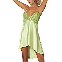 BeautyIn Women's Sexy Lingerie Satin Nightdress Lace Chemise Babydoll Irregular Slip Nightgown